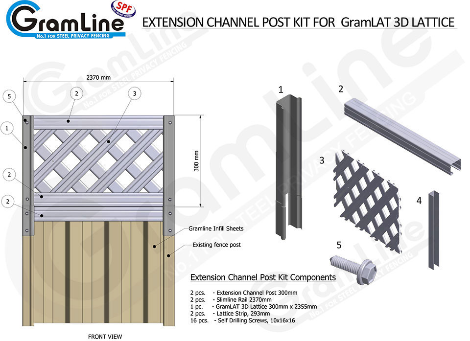 EXTENSION-POSTS--ASSEMBLY-CHANNEL-POST-KIT-3D-LATTICE